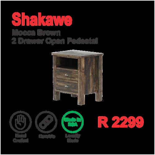 Shakawe Mocca Brown 2 Drawer Open Pedestal