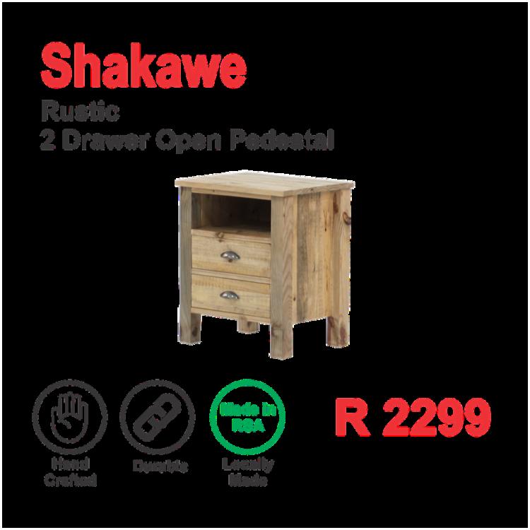 Shakawe Rustic 2 Drawer Open Pedestal